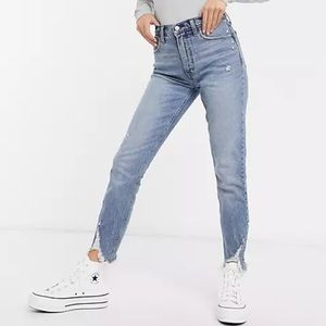 A&F High Rise Skinny Chewed Hem Jeans Size 2 26